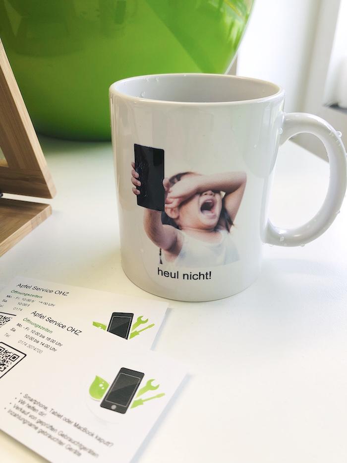 Apfel Service Tasse und Visitenkarten