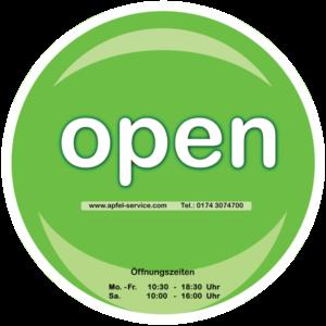 Öffnungszeiten und Open Schild Apfel Service Bremen