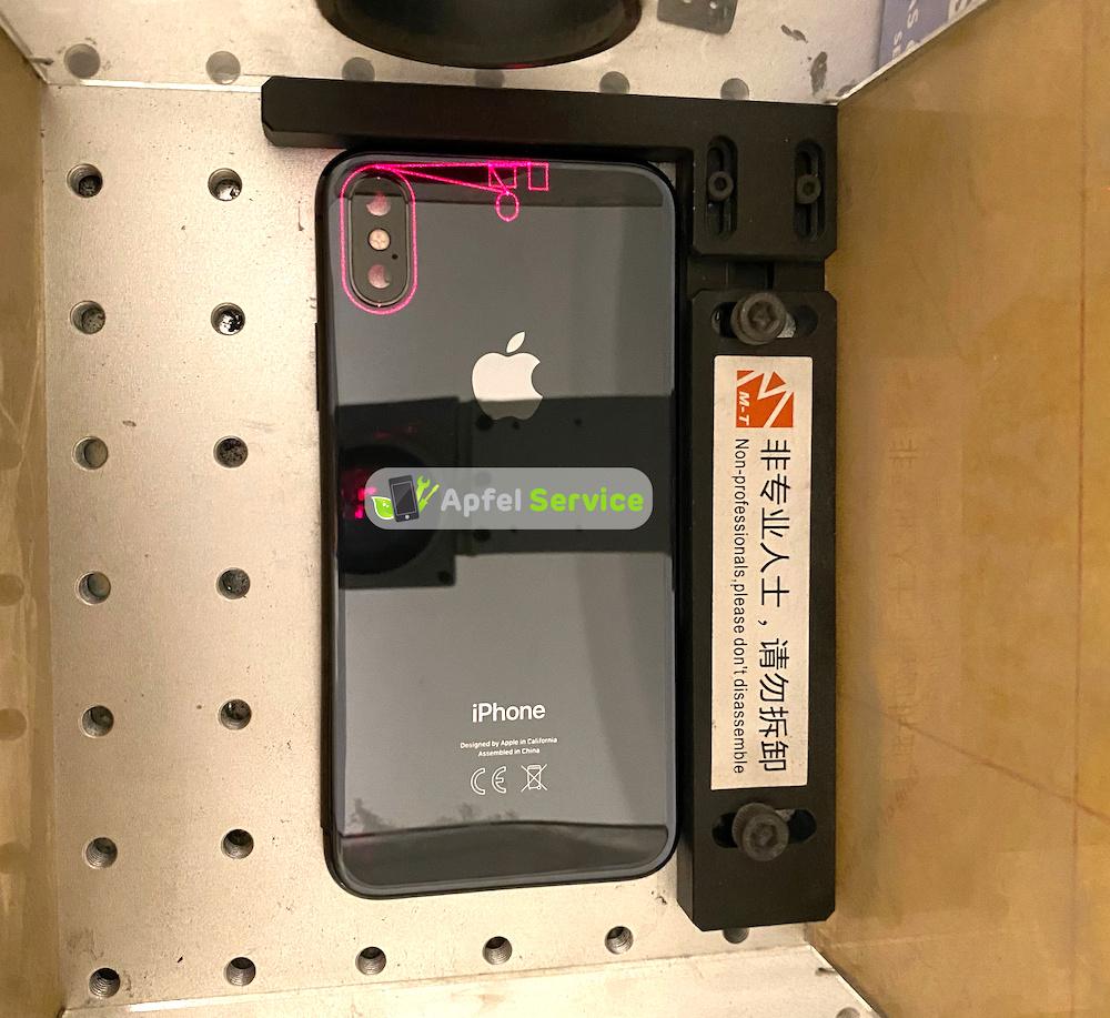 iPhone X Rückseite Reparatur per Laser - Hier zu sehen die Kalibrierung